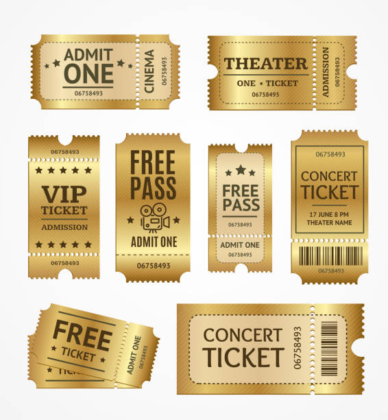 Realistic Detailed 3d Golden Tickets Set. Vector Realistic Detailed 3d Golden Tickets Set Concept Free Admission Entertainment, Show, Performance and Theatre. Vector illustration of Ticket passing giving stock illustrations