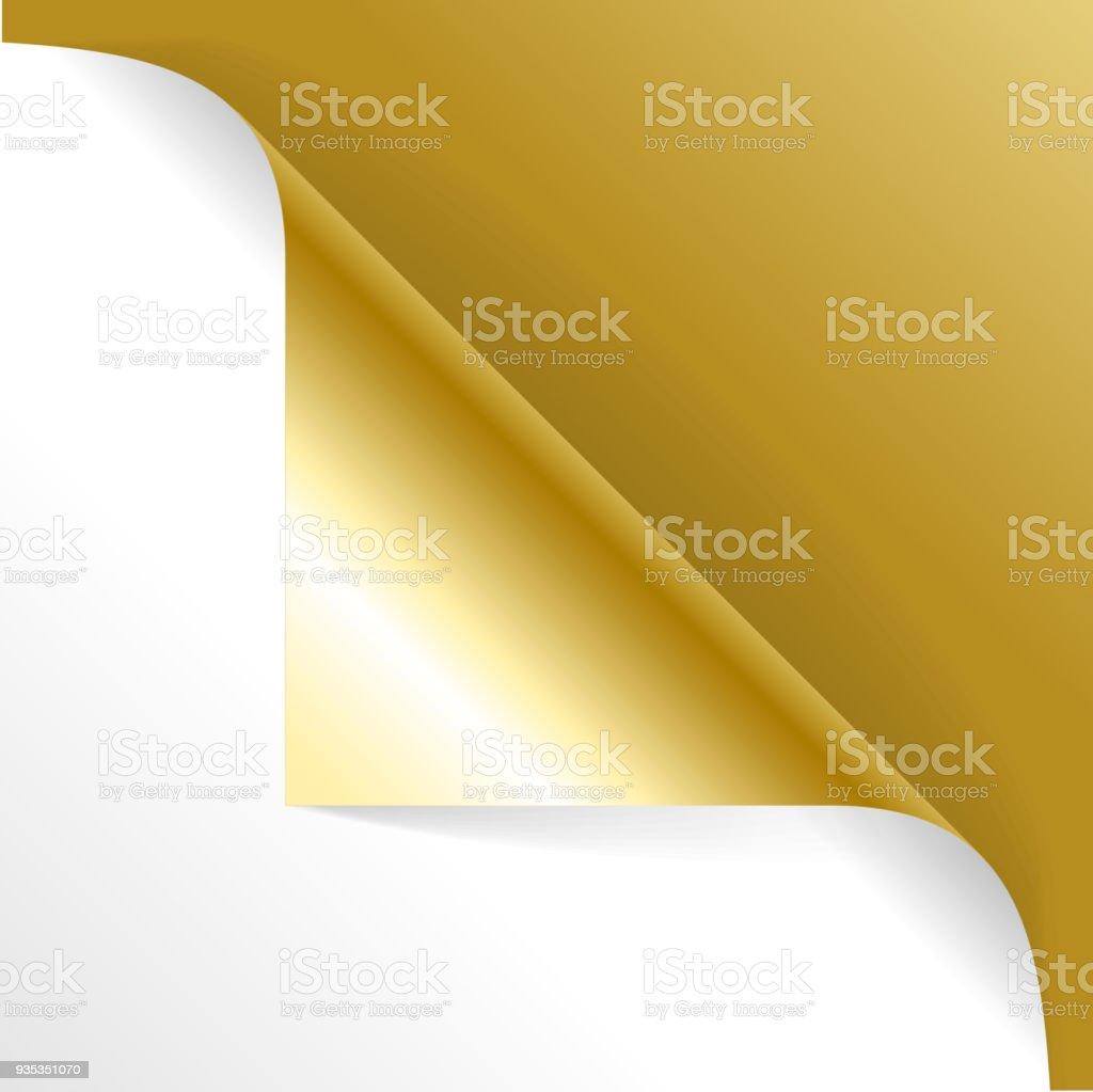 Realistic Detailed 3d Golgen Curved Corner. Vector vector art illustration