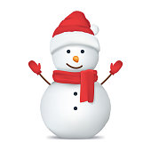 istock Realistic Detailed 3d Happy Snowman in Hat. Vector 1064195750