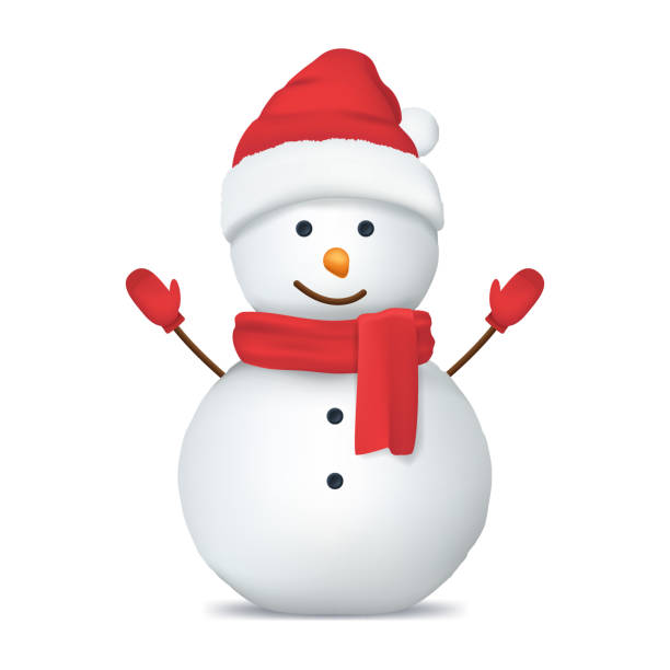 Realistic Detailed 3d Happy Snowman in Hat. Vector Realistic Detailed 3d Happy Snowman in Red Hat, Scarf and Mittens Symbol of Winter Celebration. Vector illustration snowman stock illustrations