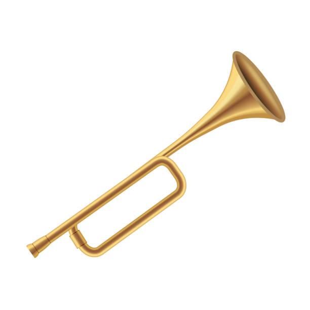 realistische detaillierte 3d könig royal golden horn auf einem weißen. vektor - fanfare stock-grafiken, -clipart, -cartoons und -symbole