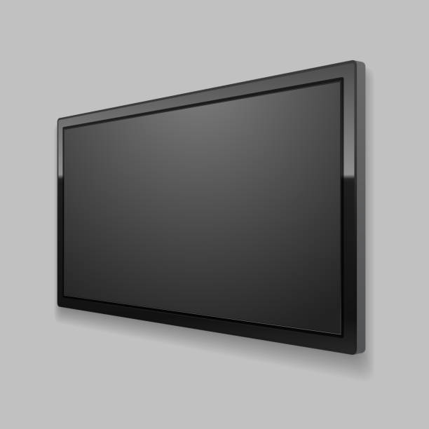 realistic detailed 3d led tv screen. vector - angle stock illustrations