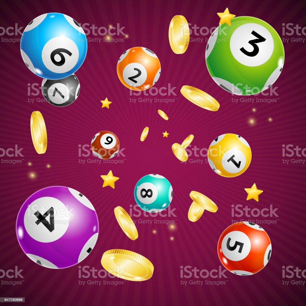 Realista detallada Lotto bola concepto tarjeta fondo 3d. Vector de - ilustración de arte vectorial