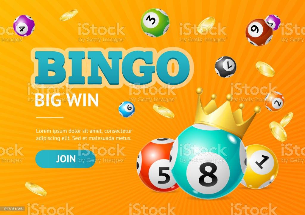 Realistic Detailed 3d Lotto Concept Bingo Big Win Card Background. Vector vector art illustration
