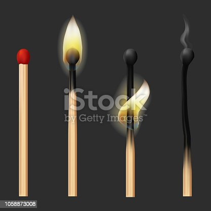 Realistic Detailed 3d Matches Flame Set New, Burning and Burnt Match Sticks Stages on a Grey. Vector illustration