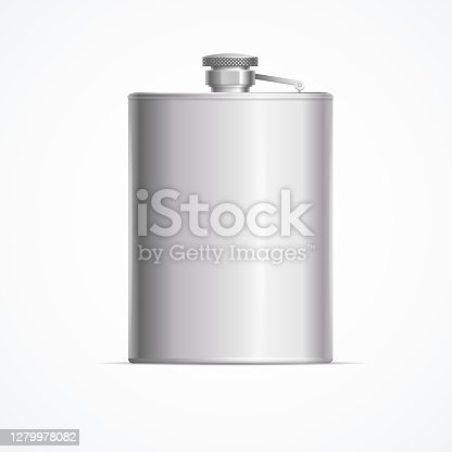 Realistic Detailed 3d Metal Hip Flask for Alcohol Drink. Vector illustration of Personal Shiny Container Hipflask
