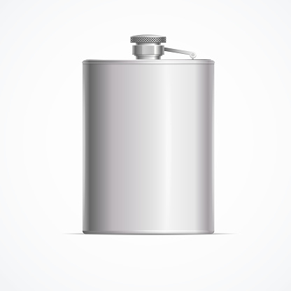Realistic Detailed 3d Metal Hip Flask. Vector
