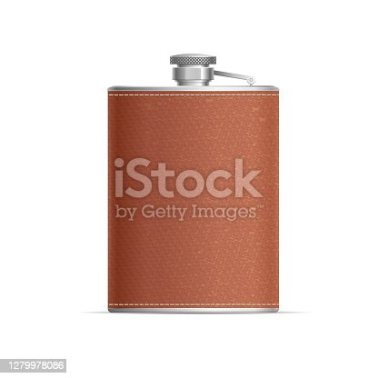 Realistic Detailed 3d Metal Hip Flask Wrapped in Leather for Alcohol Drink. Vector illustration of Hipflask