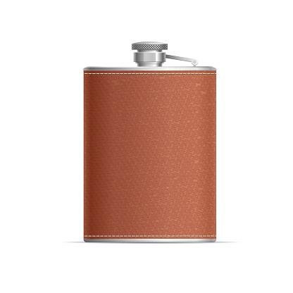Realistic Detailed 3d Metal Hip Flask Wrapped in Leather. Vector