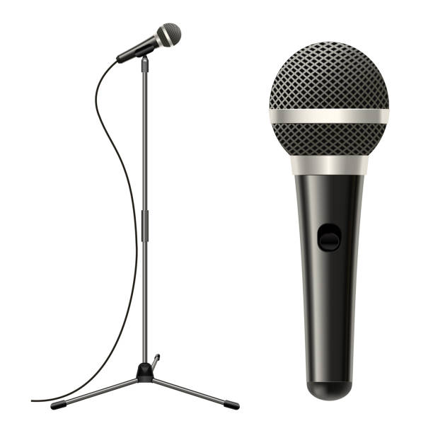 Realistic Detailed 3d Microphone with Stand. Vector Realistic Detailed 3d Stage Microphone, Cable with Stand Equipment for Performance, Entertainment, Studio, Karaoke Sing or Concert. Vector illustration verbaasd stock illustrations
