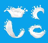 Realistic Detailed 3d Milk Splash Set Various Types on a Blue Background. Vector illustration of Splashes Healthy Drink
