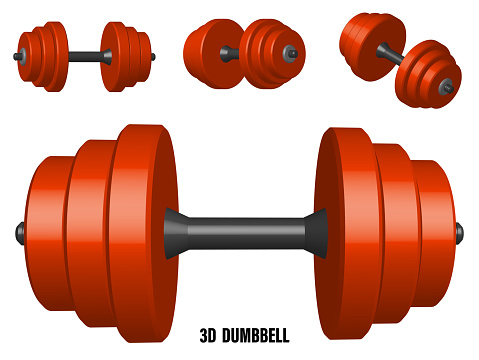 realistic detailed 3D model of red sports dumbbell. Healthy lifestyle, fitness. Realistic vector