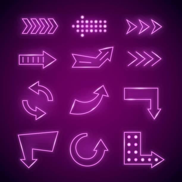 realistische 3d neon pfeil reihe detaillierter. vektor - lampenshop stock-grafiken, -clipart, -cartoons und -symbole