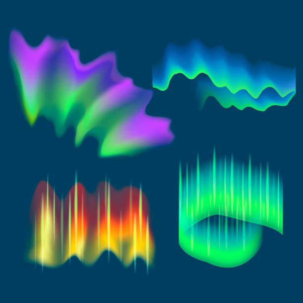 illustrazioni stock, clip art, cartoni animati e icone di tendenza di realistic detailed 3d northern aurora lights set. vector - aurora polare