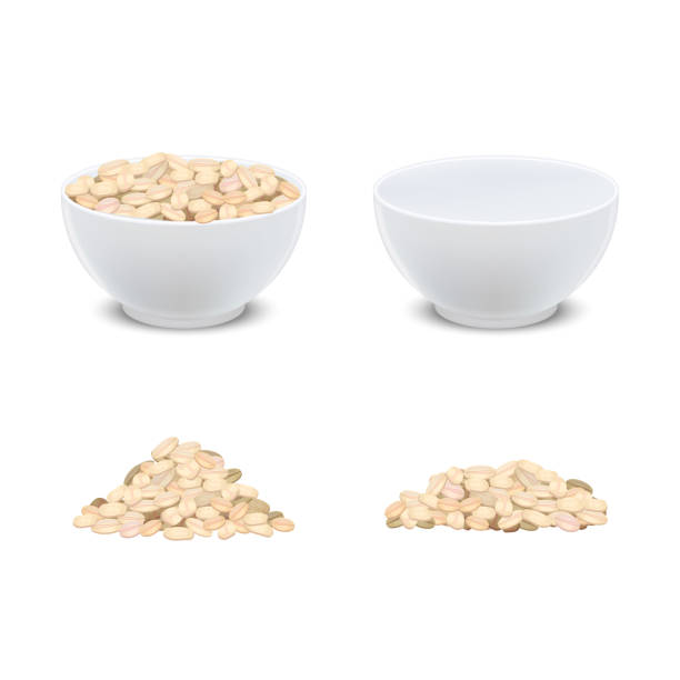 ilustrações de stock, clip art, desenhos animados e ícones de realistic detailed 3d oatmeal breakfast and white ceramic bowl. vector - oats