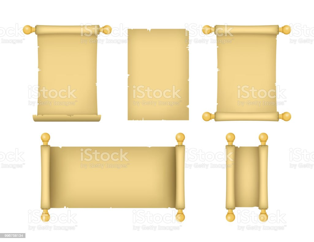 Realistic Detailed 3d Old Paper Scrolls Set Vector Stock