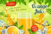 Realistic Detailed 3d Orange Juice Glass Cup Ads Banner Concept Poster Card. Vector illustration of Summer Citrus Drink
