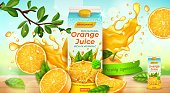 Realistic Detailed 3d Orange Juice Pack Ads Banner Concept Poster Card. Vector illustration of Packaging Beverage Citrus Fruit