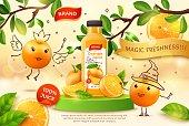 Realistic Detailed 3d Orange Juice Plastic Bottle with Cute Mascots Ads Banner Concept Poster Card. Vector illustration of Beverage Citrus Fruit