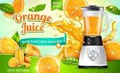 Realistic Detailed 3d Orange Juice with Electric Juicer Ads Banner Concept Poster Card. Vector illustration