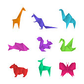 Realistic Detailed 3d Origami Paper Animals Set Include of Crane, Butterfly, Swan and Giraffe. Vector illustration of Asian Hobby