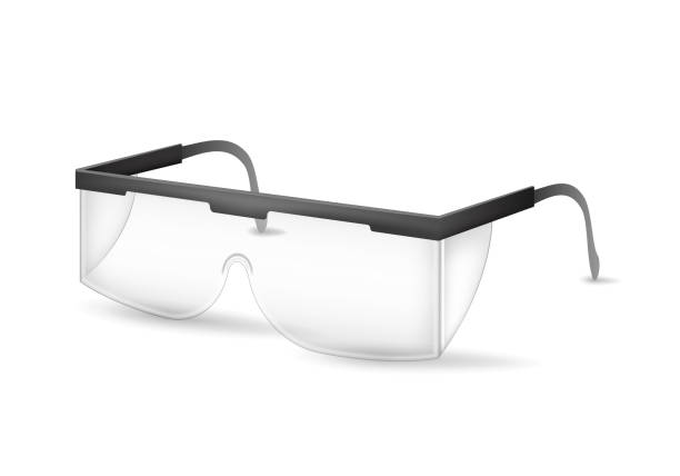 realistische detaillierte 3d kunststoff schutzbrille. vektor - schutzbrille stock-grafiken, -clipart, -cartoons und -symbole