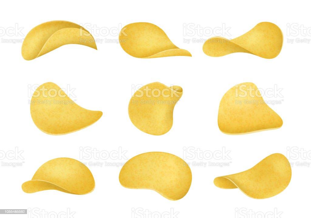 Realistiska detaljerade 3d potatischips ange annan vy. Vektor - Royaltyfri Design vektorgrafik