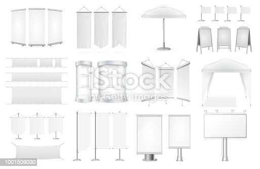 Realistic Detailed 3d Promo Ad Set Include of Banner, Roll Up Stand, Board, Flag and Tent for Promotion, Marketing. Vector illustration