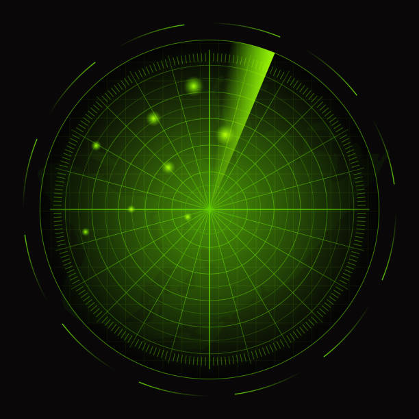 realistic detailed 3d radar with targets card poster. vector - radar stock illustrations