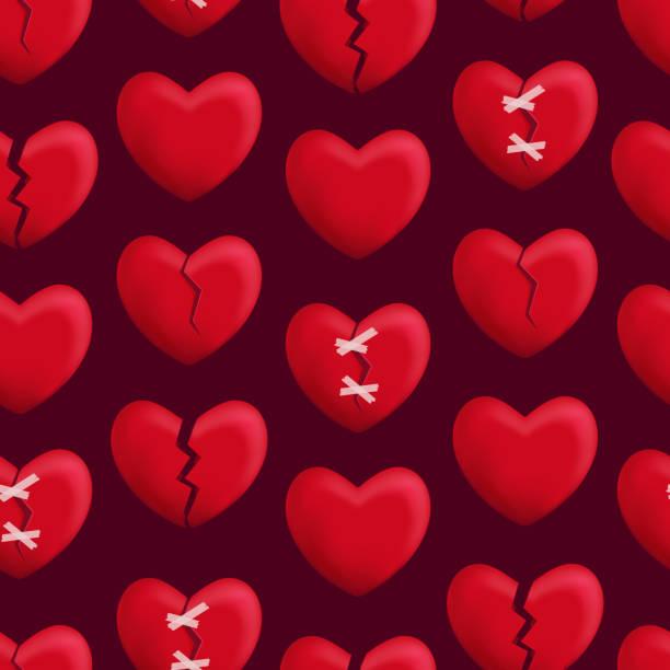 stockillustraties, clipart, cartoons en iconen met realistische gedetailleerde 3d-rode gebroken harten naadloze patroon achtergrond. vector - liefdesverdriet