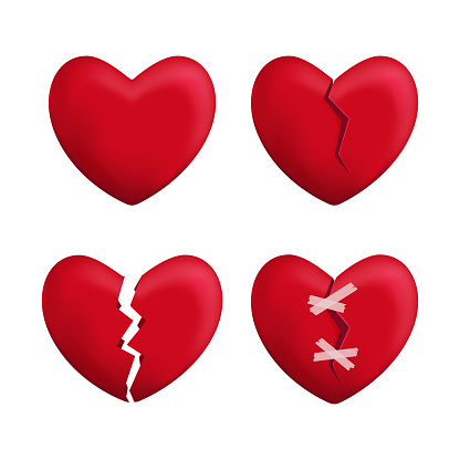 Realistic Detailed 3d Red Broken Hearts Set Icons. Vector