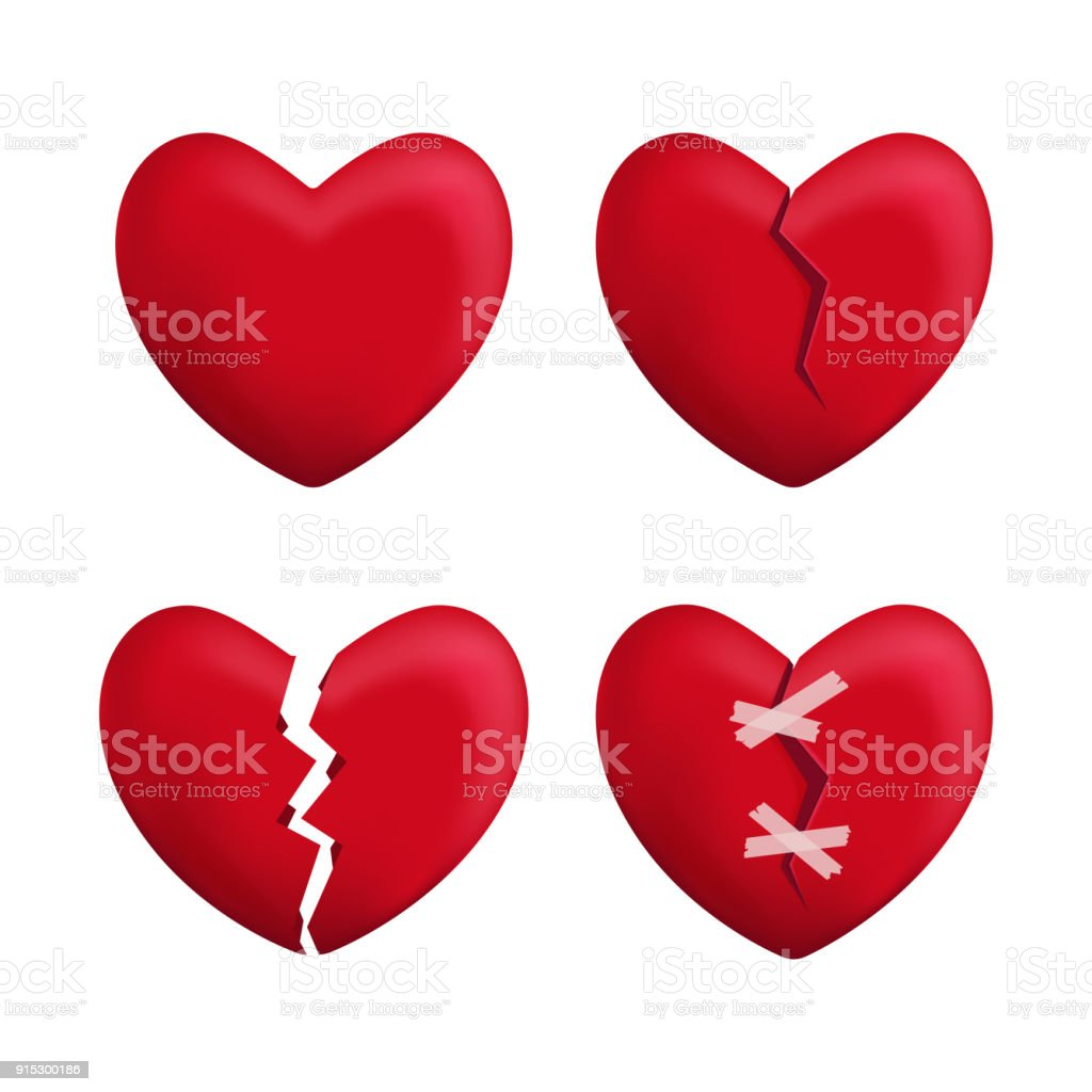 Realistic Detailed 3d Red Broken Hearts Set Icons. Vector vector art illustration