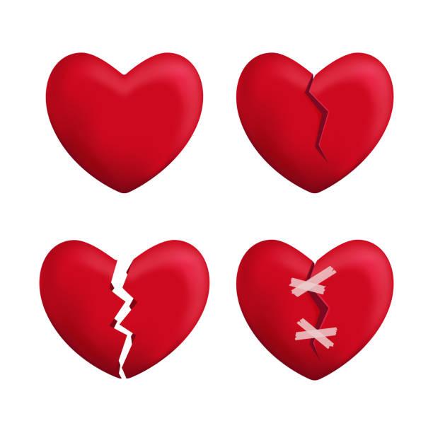 stockillustraties, clipart, cartoons en iconen met realistische gedetailleerde 3d-rode gebroken harten instellen pictogrammen vector - liefdesverdriet