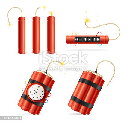 Realistic Detailed 3d Red Detonate Dynamite Bomb Stick and Timer Clock Set Isolated on White Background. Vector illustration