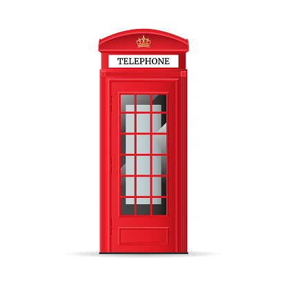 Realistic Detailed 3d Red London Phone Booth. Vector