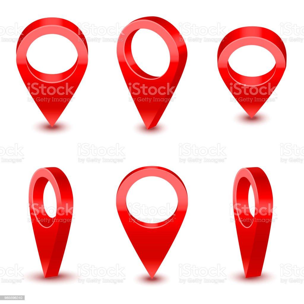 Réaliste rouge 3d détaillée carte pointeur épingle ensemble. Vector - Illustration vectorielle
