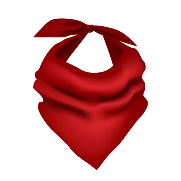 ilustrações de stock, clip art, desenhos animados e ícones de realistic detailed 3d red neck scarf. vector - lenço do pescoço