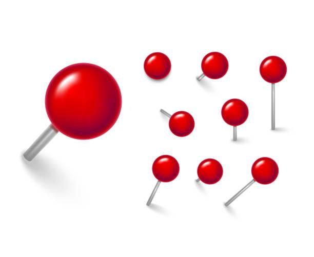 realistische 3d rot push pins verschiedenen blickwinkeln reihe detaillierter. vektor - heftzwecke stock-grafiken, -clipart, -cartoons und -symbole