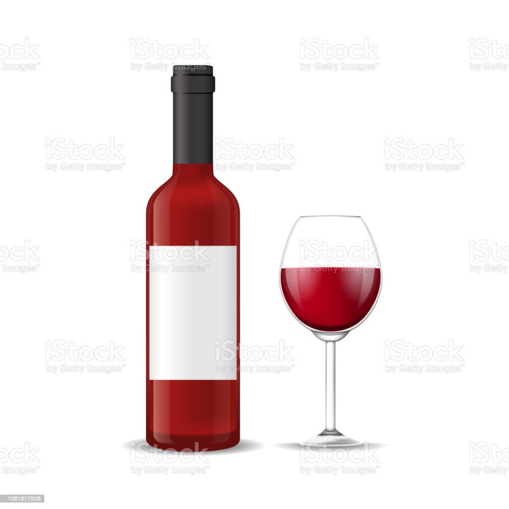 Réaliste 3d Détaillée Rouge Bouteille Vin Et Verre À Vin Vector Vecteurs libres de droits et plus d'images vectorielles de Alcool