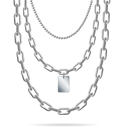 Realistic Detailed 3d Silver Chain with Pendant Set. Vector