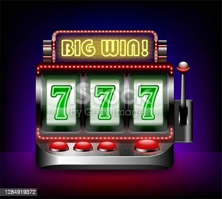 istock Realistic Detailed 3d Slot Machine One Arm Bandit. Vector 1284919372