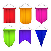 Realistic Detailed 3d Color Sport Pennants Flags Set Isolated on a Whiite. Vector illustration of Pennant Flag