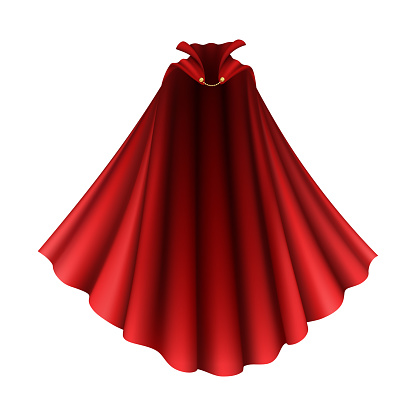 Realistic Detailed 3d Superhero Red Cape. Vector