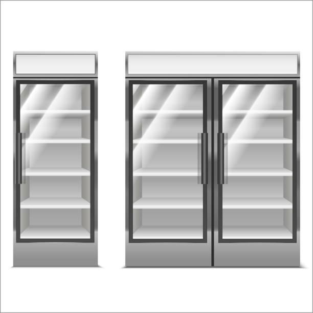 realistische detaillierte 3d set supermarkt gefrierschrank. vektor - kühlschränke stock-grafiken, -clipart, -cartoons und -symbole