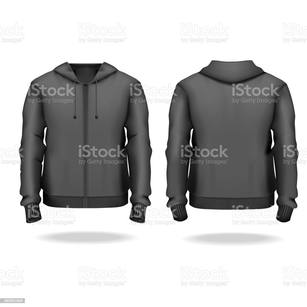 realistic detailed 3d template blank black male zip up hoodie mock