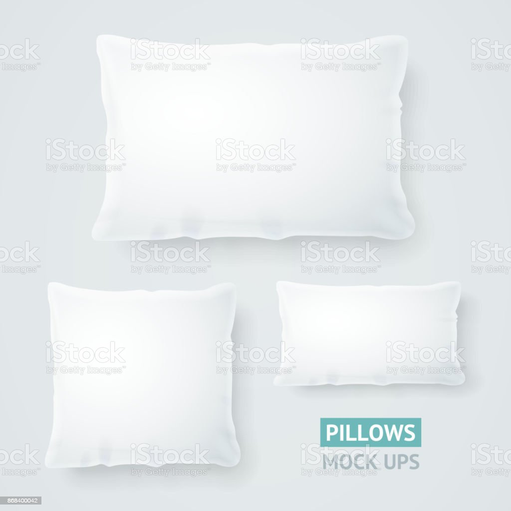 Realistic Detailed 3d Template Blank White Pillow Mock Up Set. Vector vector art illustration
