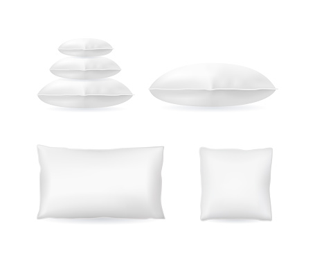 Realistic Detailed 3d Template Blank White Pillow Mock Up Set. Vector