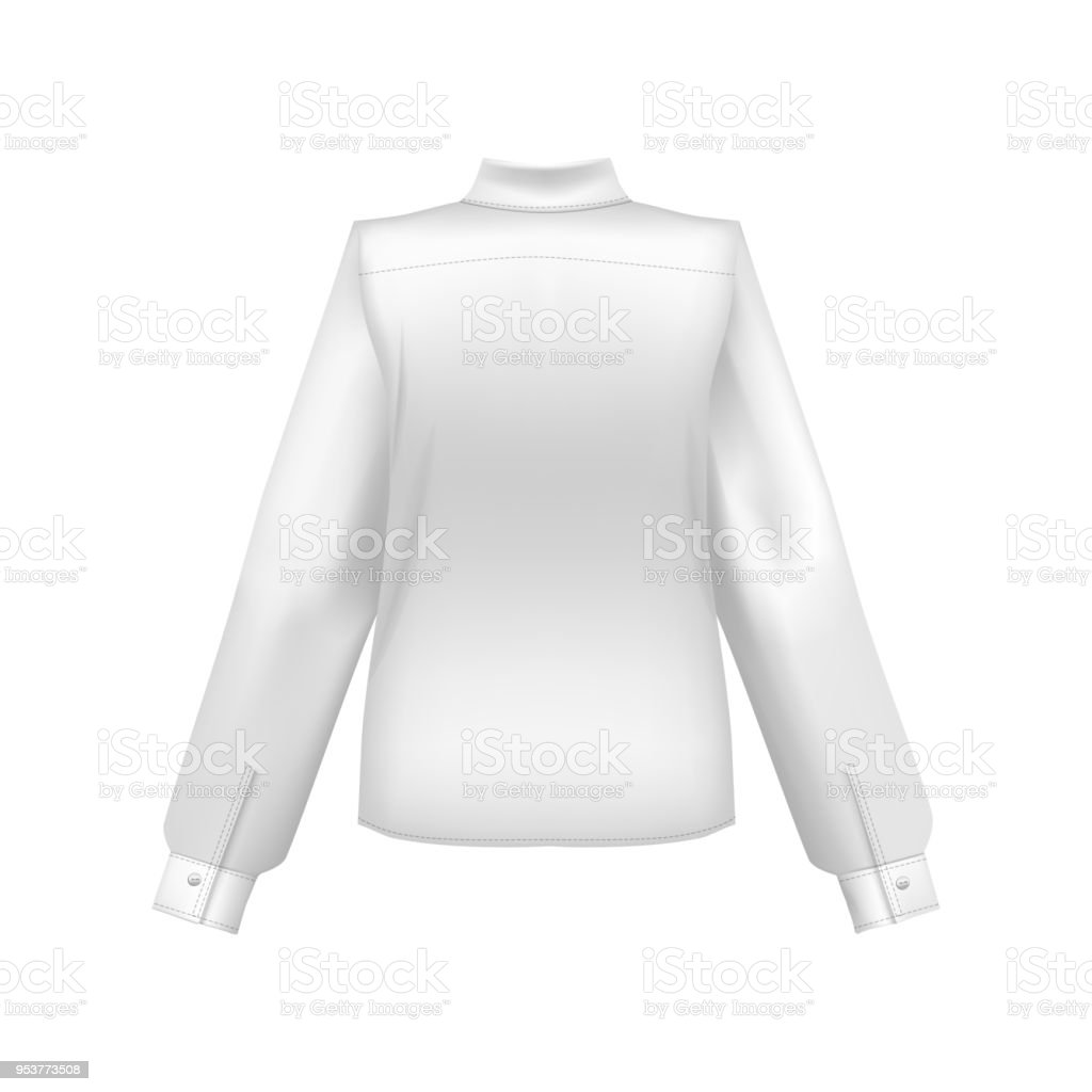 Realistic Detailed 3d Template Blank White Shirt Back Side Vector
