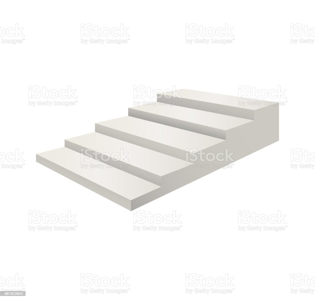 realistic detailed 3d template blank white stair ladder vector stock