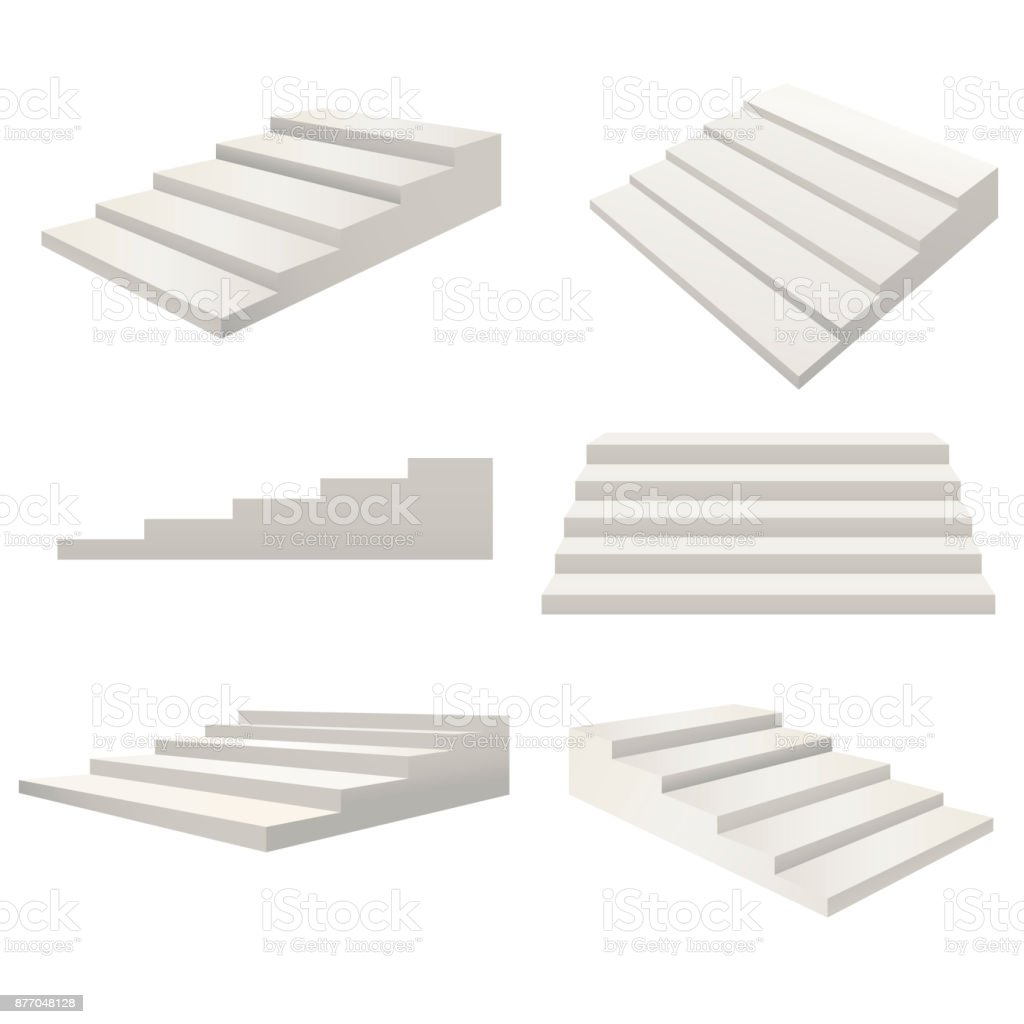 realistic detailed 3d template blank white stairs ladder different